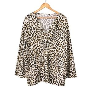 3X Leopard Print Faux Wrap Top 89th & Madison
